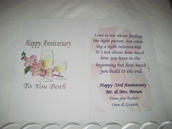 Sandals Ochi Beach Resort: special anniversary card from the butlers
