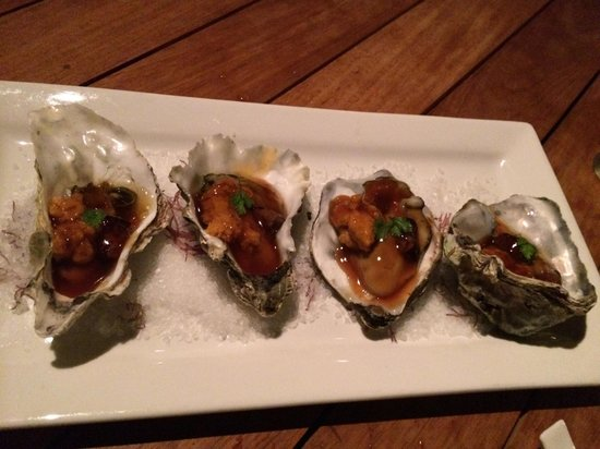 Morimoto : Oysters with Foie Gras and Uni