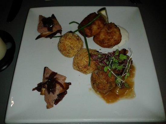 Credo Restaurant: pork terrine, haggis fritter, fish cakes, duck arancini