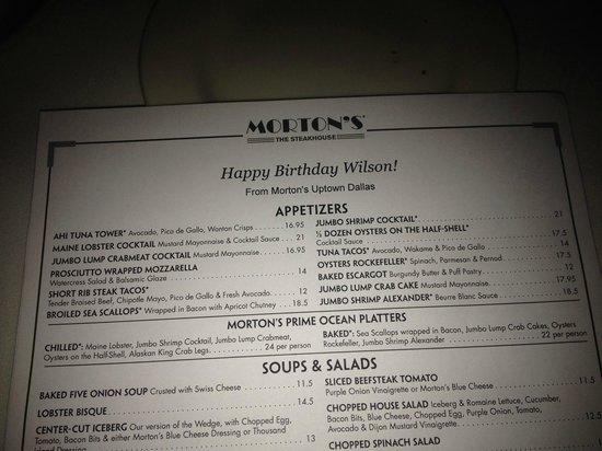 Morton's Steak House: Personalized Menu