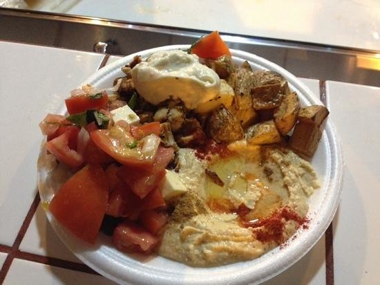 Le COQ Lebanese Health Food : chicken plate with hummus, potatoes, tomato salad and garlic sauce. So good!