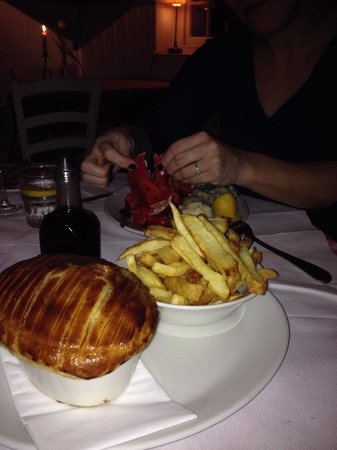 The Whitstable Oyster Company : Pie and chips for man Lobster for woman