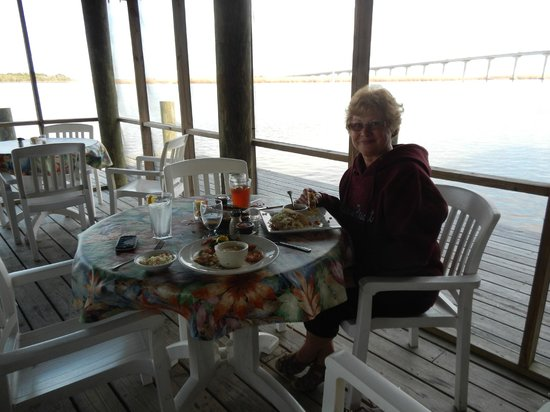 Caroline's Dining on the River : Screened deck over the river.
