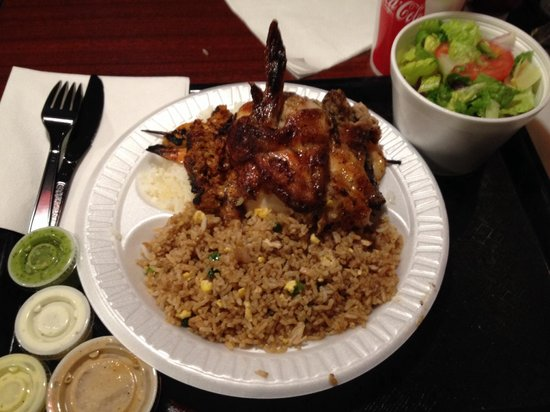 Sardi's Pollo a la Brasa : Ultimate grill (shrimp, steak, chicken & chorizo). Fried rice and a salad as a side. So tasty!