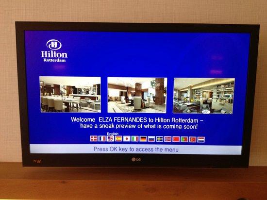 Hilton Rotterdam: Foto de boas vindas na TV