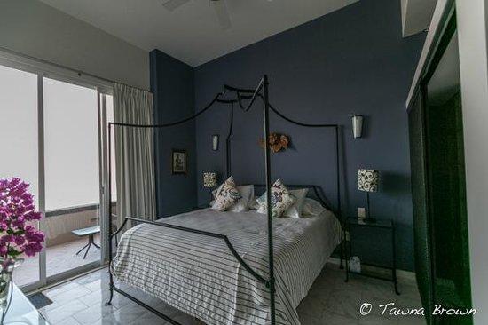 "The ""Vallarta"" room I stayed in at Villa Amor del Mar- super comfy bed!"