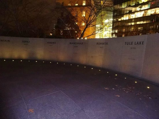 National Japanese American Memorial: Wall of internment camps