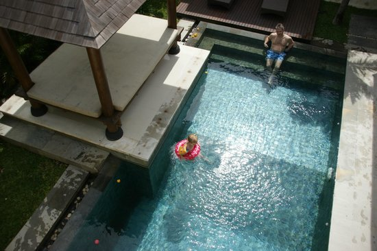 Lalasa Villas: View of private pool from balcony upstairs