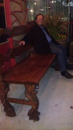 Ninfa's on Navigation: Bill found a bench out front just his size