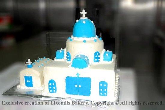 Lixoudis Pastry Shop: Santorini chapel wedding cake by pastry chef Lixoudis