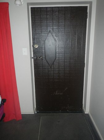 Camelot Motor Lodge: Door needs painting, terrible red curtains, stain on entry carpet