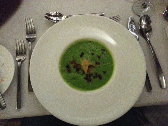Potager Restaurant: Pea and Ham Velouté with Ham Hock Tortellini and White Truffle Oil