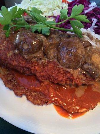 Pod Wawelem : potato panacake with mushrooms