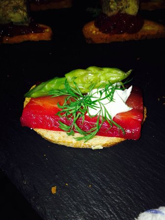 The Cross Keys Restaurant Stow: Beet root Gravadlax asparagus cream cheese and dill