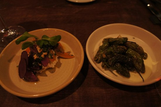 Hen of The Wood: Beets with goat cheese & pine nuts (left) and Shishito peppers with crème fraîche (right)