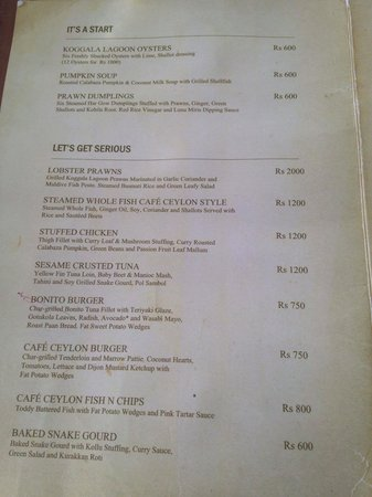 Cafe Ceylon: Menu (Feb 2014)