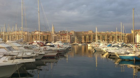 InterContinental Marseille - Hotel Dieu: View from vieux port to Intercontinental Marseille (in centre back row)