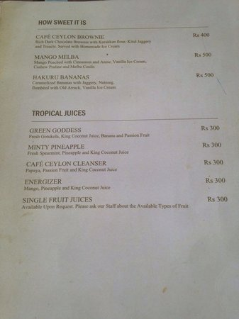 Cafe Ceylon : Menu (Feb 2014)