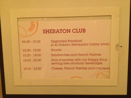Sheraton Grand Doha Resort & Convention Hotel : Club hours