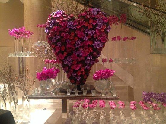 Address Dubai Mall : Beautiful Valentine's day decoration in the lobby