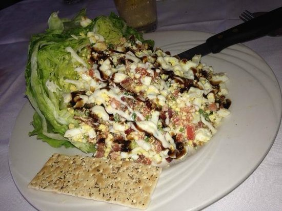 Mangoes : Baby Iceberg Salad with chopped egg, lettuce, gorgonzola and more, drizzled with Balsamic glaze