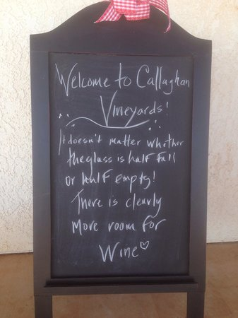 Welcome sign at Callaghan Vineyards