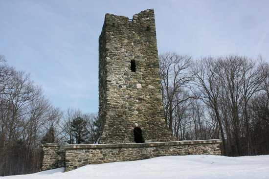 The Hubbard Park Tower at the top of the hill