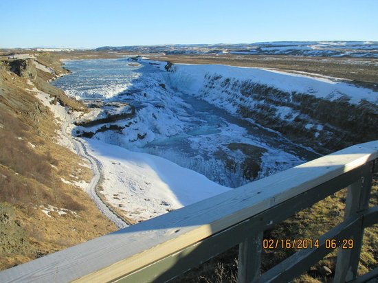 View of Gullfoss from higher landing