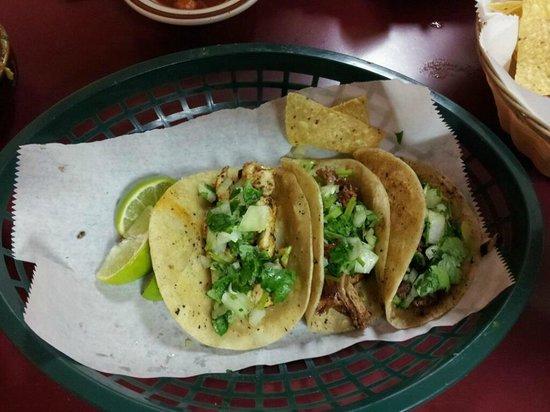 Taqueria El Amigo: Three tacos--chicken, shredded beef, carnitas.