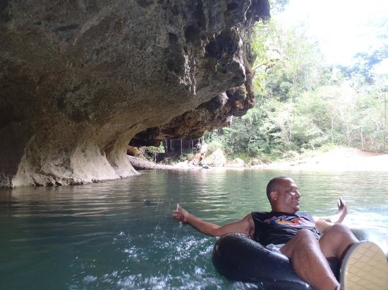 Cave Tubing R Us: David Leading us into the caves