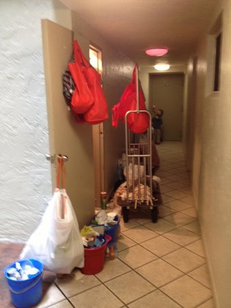 Crescent Arms Condominiums: Cleaning day means walking around piles of cleaning products.