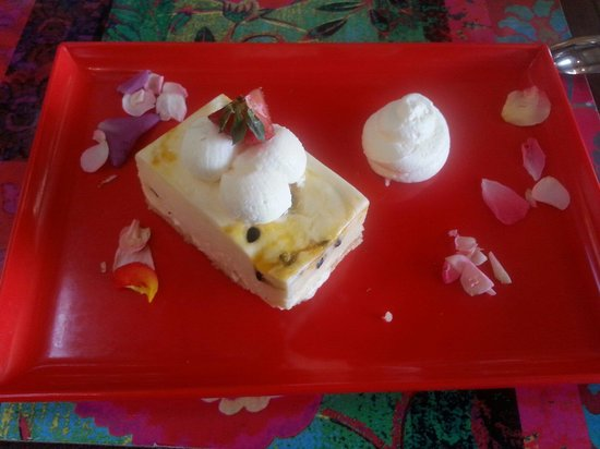 Bohemian Bungalow: The passionfruit cheesecake.