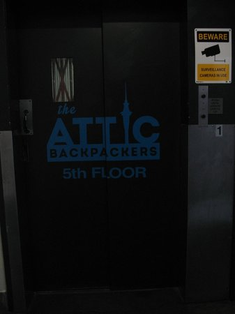 Attic Backpackers: The elevator to the 5th floor