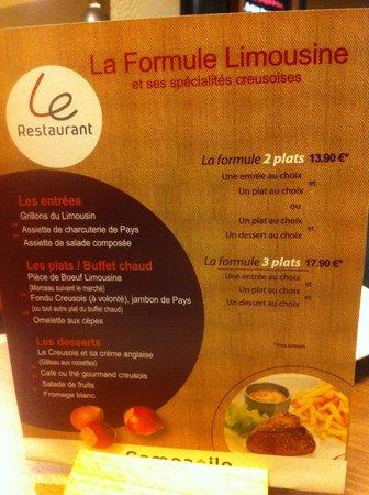 Campanile Gueret : Le menu régional