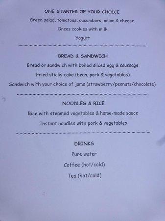 Lighthouse Hotel: brkfst menu/not much for a westerner/you get one egg