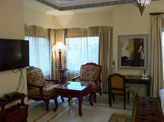 Orient Taj : Nice corner sitting area with hideous furniture.