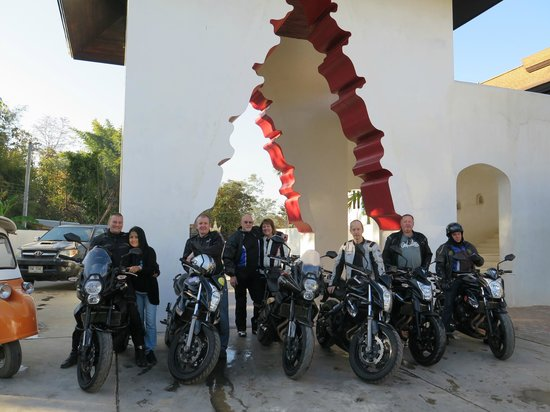 Thai Motorcycle Day Tours: The group ready for the day's ride