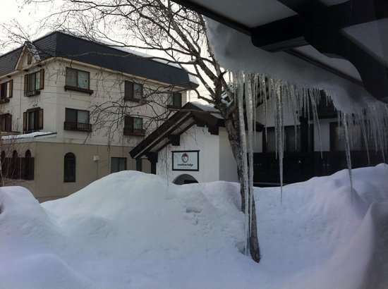 Snowlines Lodge Hakuba: You get that much snow here can't even see out of the window which is on the second floor