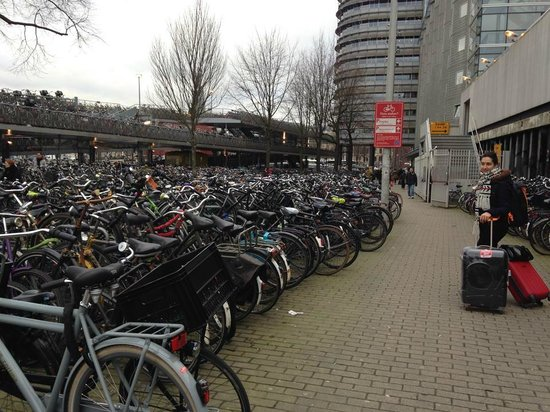 Ibis Amsterdam Centre: outside and a view of part of the front facade and bike parking