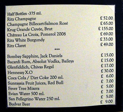 The Ritz London: Lista de precios servicio habitación-1