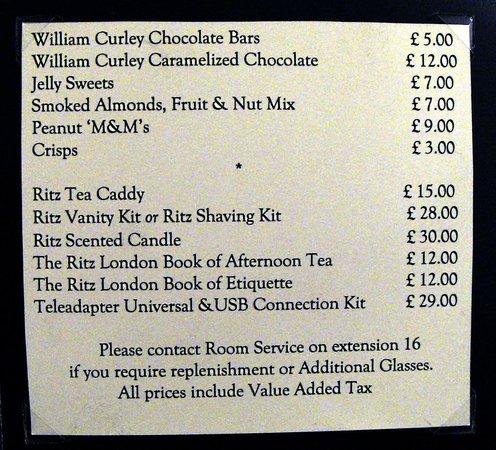 The Ritz London: Lista de precios servicio habitación-2