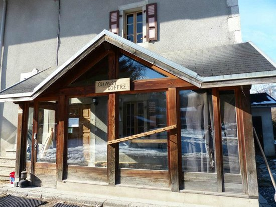 "Chalet Giffre: Entrance to chalet and great sunny place to ""boot up"""
