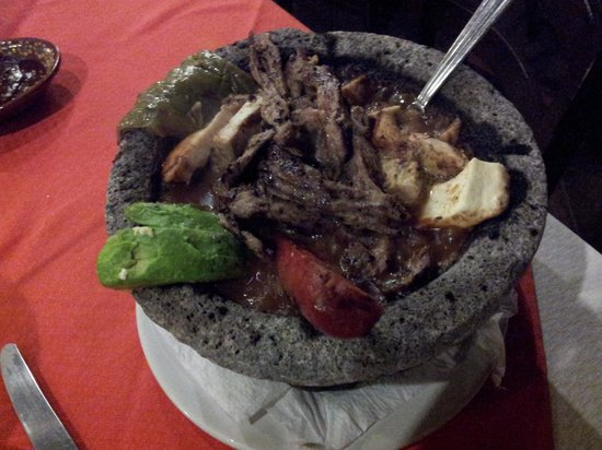 La Destileria: molcajete of beef and chicken