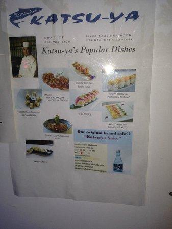 Sushi Katsu-ya: Some menu items.