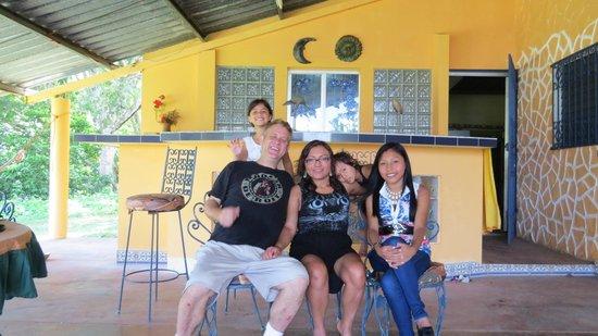 Granja San Judas Tadeo: Family on the patio of the rental house