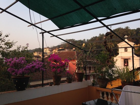Afonso Guest House: Flowers and view on the rooftop terrace