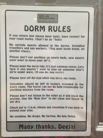 Deejai Backpackers: Rules!