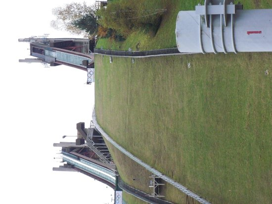 Olympic Ski Jump Complex : Photo from the bottom, chairlift to the top