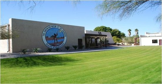 Somerton, AZ: Back of museum showing tribal seal