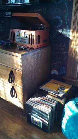 Made INN Vermont, an Urban-Chic Bed and Breakfast: Old Skool record player with tons of records to chose from